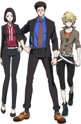 Left: Nadeshiko Kugatachi, Middle: Takuma Tsurugi, Right: Alpha